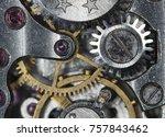 clockwork old mechanical watch  ...   Shutterstock . vector #757843462