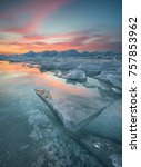 frozen sea during sunset.... | Shutterstock . vector #757853962
