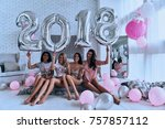 happy new year  four attractive ... | Shutterstock . vector #757857112