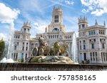 cibeles fountain at plaza de... | Shutterstock . vector #757858165