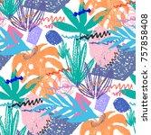 creative hand drawn textures.... | Shutterstock .eps vector #757858408