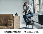 doing some thinking. handsome... | Shutterstock . vector #757863346