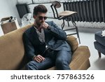confident in his perfect style. ... | Shutterstock . vector #757863526