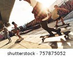 skating is their life. group of ... | Shutterstock . vector #757875052