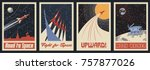 Vector Space Posters. Stylization under the Retro Soviet Space Propaganda | Shutterstock vector #757877026