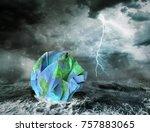 global warming and apocalypse... | Shutterstock . vector #757883065
