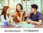students asian group together... | Shutterstock . vector #757888495