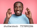 positive afro american male has ... | Shutterstock . vector #757890286