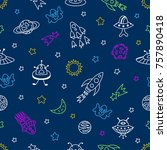 outer space seamless pattern...   Shutterstock .eps vector #757890418