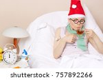 sick young lady in her bed... | Shutterstock . vector #757892266