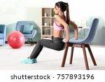 beautiful young woman doing...   Shutterstock . vector #757893196