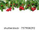 christmas composition of fir... | Shutterstock . vector #757908292