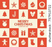 flat christmas icons seamless... | Shutterstock .eps vector #757913722