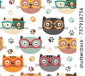 seamless pattern with cute... | Shutterstock .eps vector #757918756