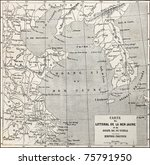 old yellow sea coast map.... | Shutterstock . vector #75791950