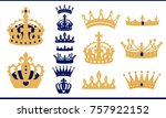 gold and blue navy crowns set.... | Shutterstock .eps vector #757922152