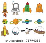 cartoon space icon | Shutterstock .eps vector #75794359