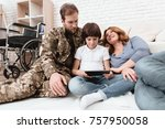 the family spends time together.... | Shutterstock . vector #757950058