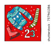 advent calendar. knitted... | Shutterstock .eps vector #757961386