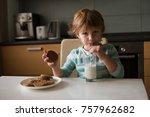 three little boy drink milk and ... | Shutterstock . vector #757962682