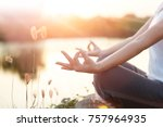woman yoga practicing and... | Shutterstock . vector #757964935