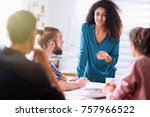 meeting at the office of a... | Shutterstock . vector #757966522