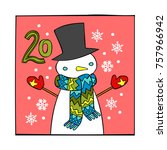 advent calendar. snowman.... | Shutterstock .eps vector #757966942