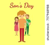 son's day. family icon. ... | Shutterstock . vector #757968988