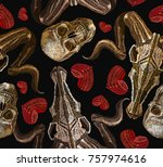 embroidery skulls and heart... | Shutterstock .eps vector #757974616
