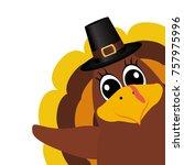 turkey pilgrimin on... | Shutterstock .eps vector #757975996