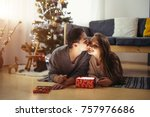 beautiful young couple lying on ... | Shutterstock . vector #757976686
