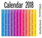 2018 vertical calendar design... | Shutterstock .eps vector #757979662