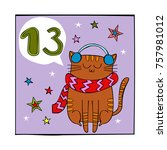 advent calendar. cat and stars. ... | Shutterstock .eps vector #757981012