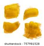 abstract gilded gold acrylic... | Shutterstock . vector #757981528