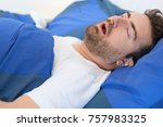 face close up of snoring man... | Shutterstock . vector #757983325