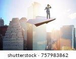 Businessman Flying On Paper...