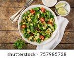 avocado  tomato  chickpeas ... | Shutterstock . vector #757985728