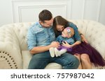 beautiful modern family on... | Shutterstock . vector #757987042
