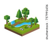 isometric trees and river design | Shutterstock .eps vector #757991656