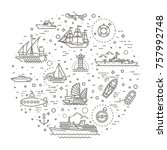 vector line set of ships and... | Shutterstock .eps vector #757992748