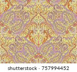 traditional indian paisley...   Shutterstock . vector #757994452