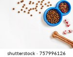 dry pet food in bowl and bone... | Shutterstock . vector #757996126