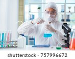 chemist working in the... | Shutterstock . vector #757996672