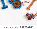Stock photo dog care items isolated on white background dry pet food in bowl toy and bones top view 757996786