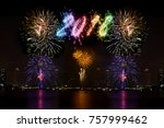 beautiful firework display for...   Shutterstock . vector #757999462