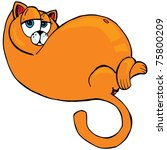 Stock vector cartoon of fat orange cat isolated on white 75800209