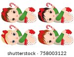 vector cute little baby girls... | Shutterstock .eps vector #758003122