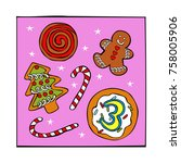 advent calendar. christmas... | Shutterstock .eps vector #758005906