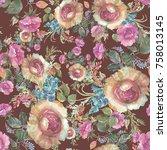 roses seamless pattern | Shutterstock . vector #758013145