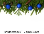 christmas upper decoration with ... | Shutterstock . vector #758013325